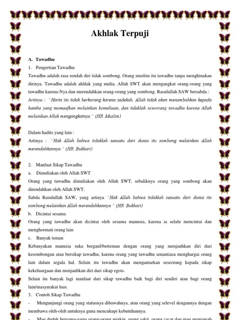 Tawadhu Arti : tawadhu, Akhlak, Terpuji