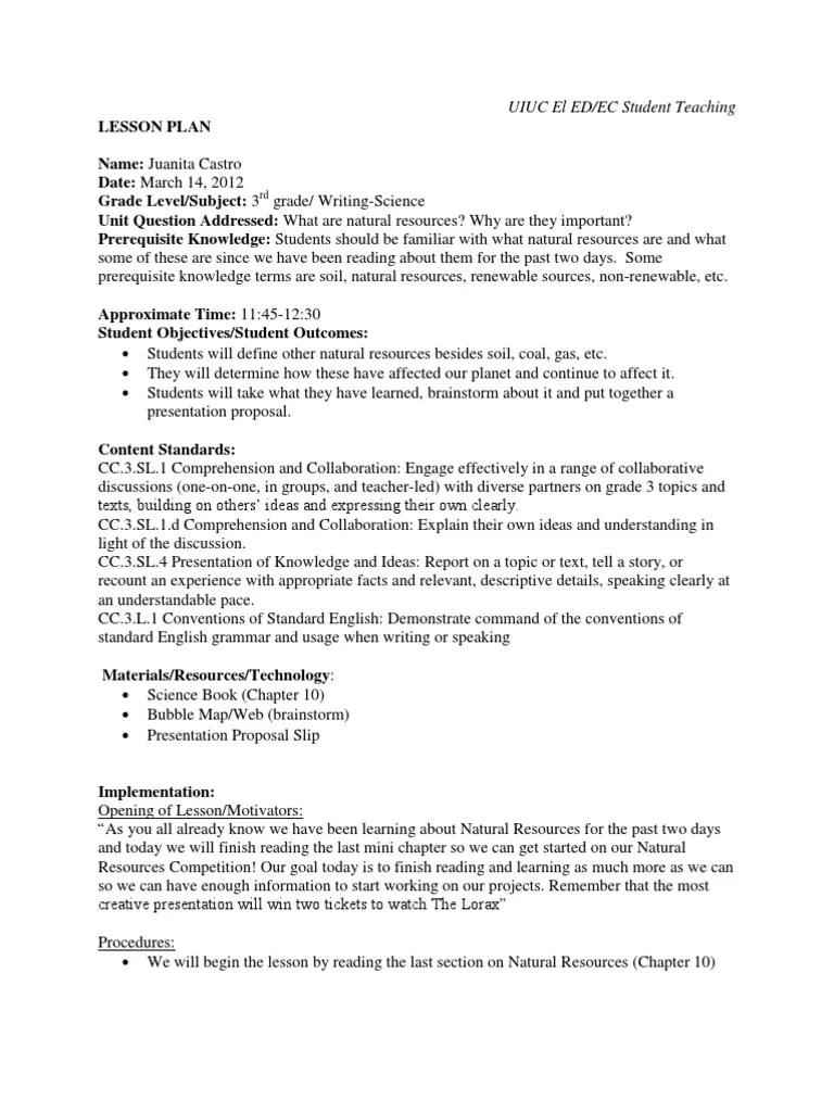 Natural Resources Lesson Plan   Reading Comprehension   Lesson Plan [ 1024 x 768 Pixel ]