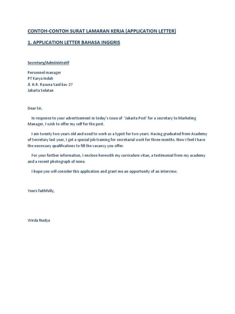 Contoh Surat Lamaran Kerja Dalam Inggris Dan Indonesia Jakarta Business Cute766