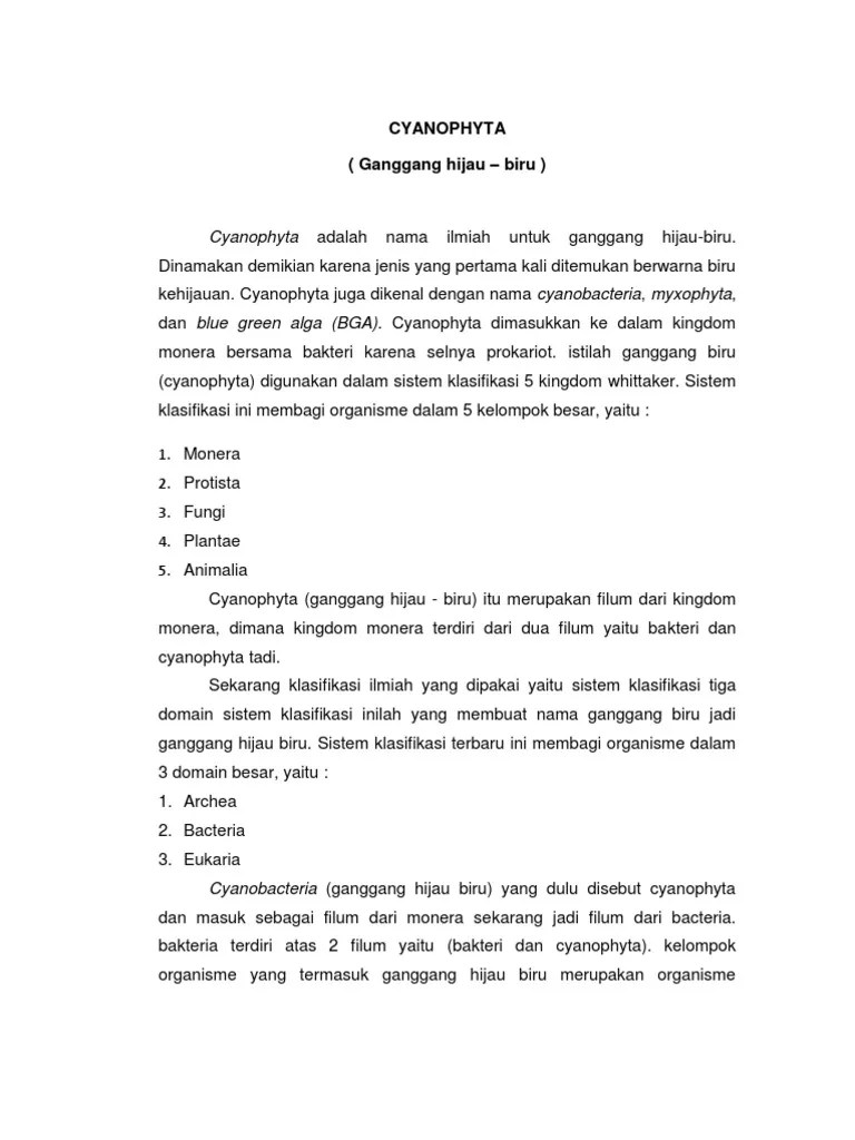 Klasifikasi Alga Biru : klasifikasi, CYANOPHYTA, Ganggang, Hijau