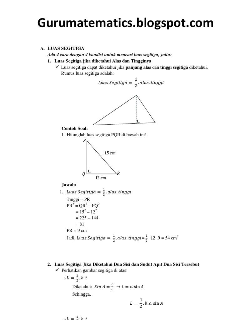 Luas Segitiga Trigonometri : segitiga, trigonometri, Segitiga