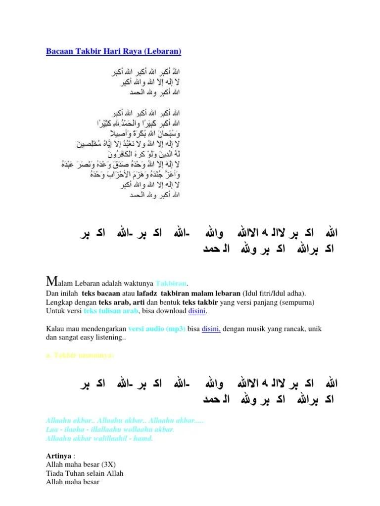 Takbir Idul Fitri Lengkap : takbir, fitri, lengkap, Tulisan, Takbiran, Fitri, Lengkap