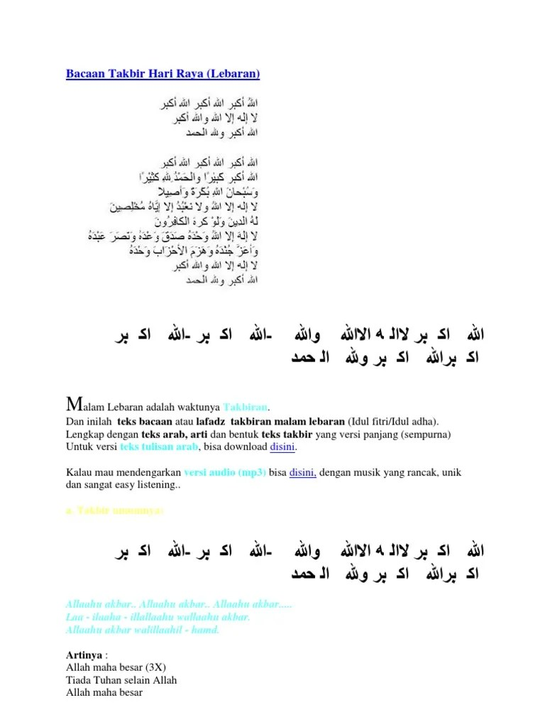 Teks Takbiran Idul Adha : takbiran, Tulisan, Takbiran, Fitri, Lengkap