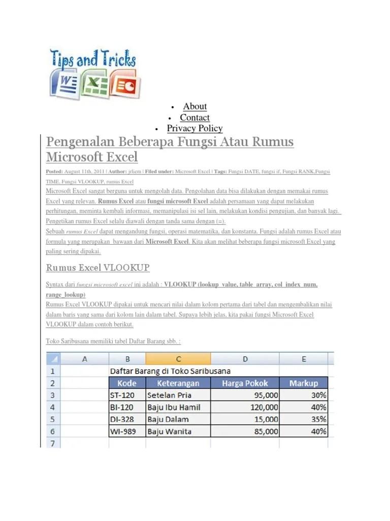 21/07/2018· penggunaan fungsi hlookup dan vlookup disertai dengan soal latihan. Contoh Soal Microsoft Excel 2007 Fungsi If Vlookup