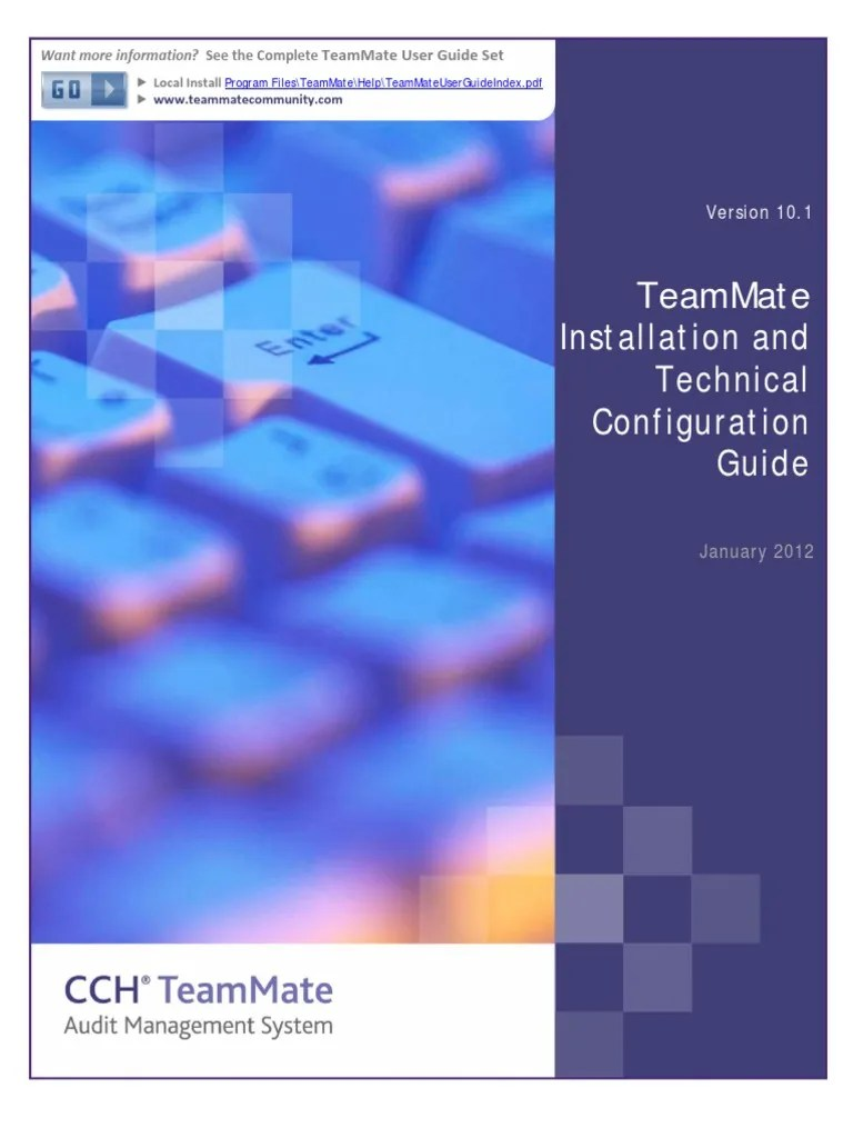 TeamMate Installation and Technical Configuration Guide  Oracle Database  Internet Information