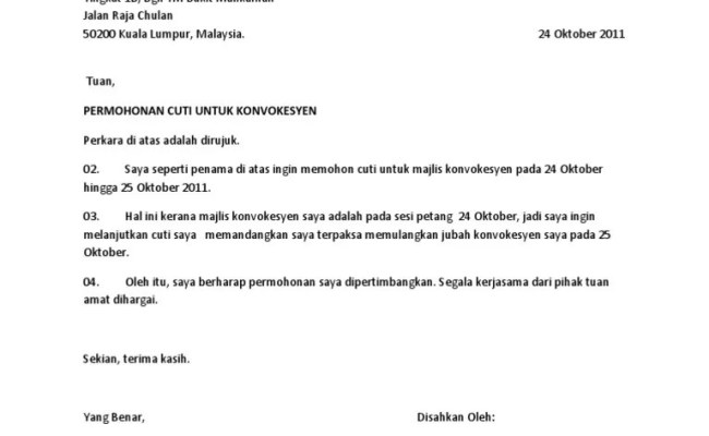 Surat Rasmi Memohon Cuti Tanpa Gaji Frasmi Cute766