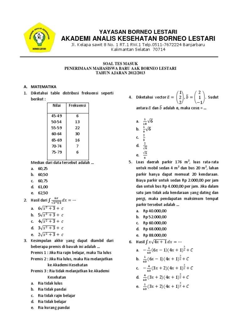 Contoh Soal Tes Masuk Akademi Farmasi Contoh Soal Terbaru Cute766
