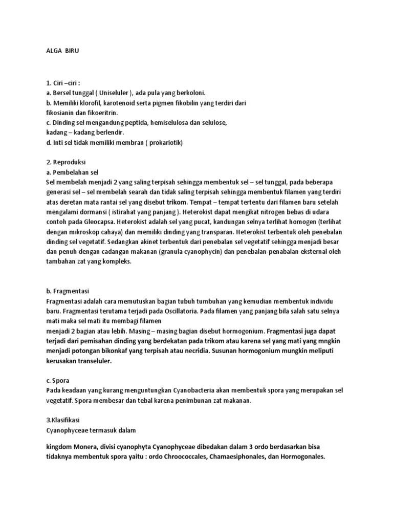 Klasifikasi Alga Biru : klasifikasi