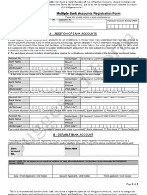 Multiple Bank Account Registration Form Cheque Banks