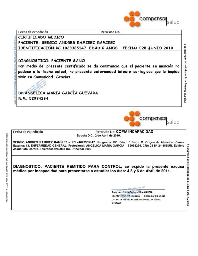 Certificado Medico Formato Wood Scribd Mexico