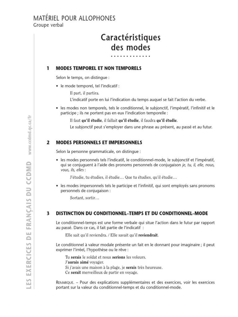 Les Modes Et Les Temps Exercices Pdf : modes, temps, exercices, Modes, Exercices, Corrigés, Temps, (grammaire), Verbe