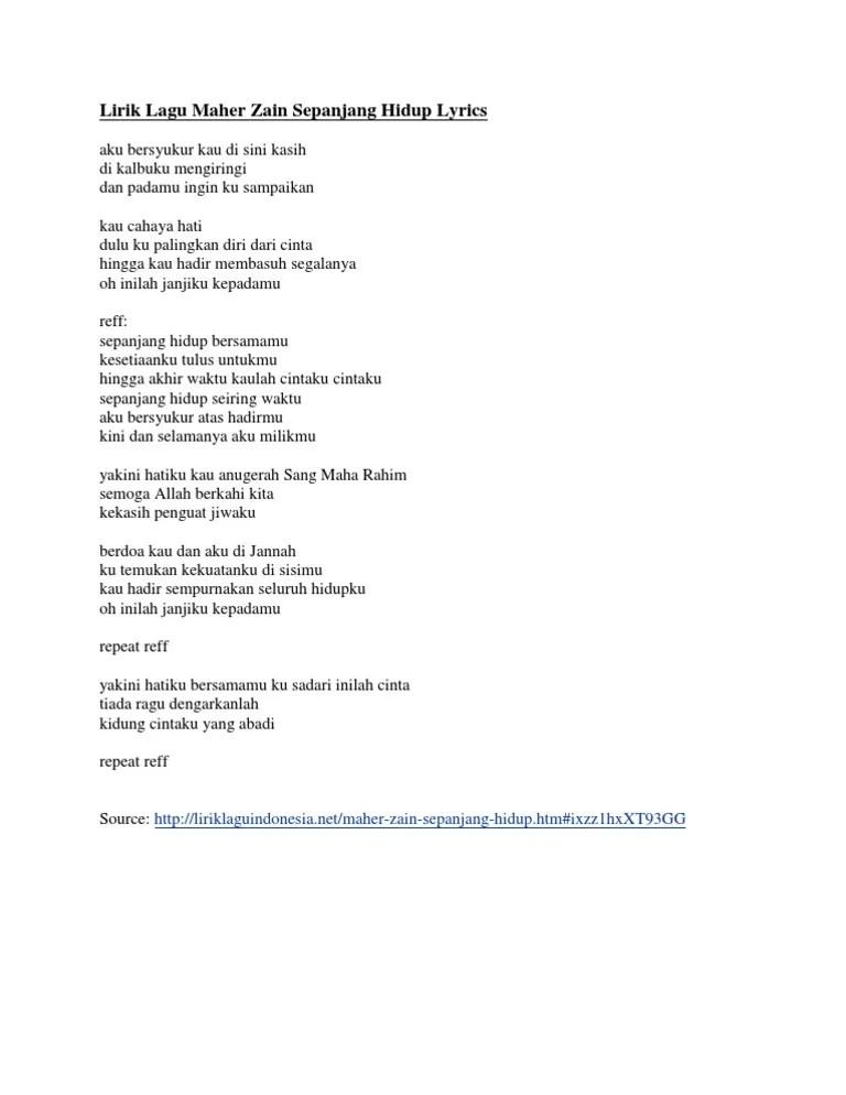 Download Lirik Lagu Maher Zain Sepanjang Hidup Versi