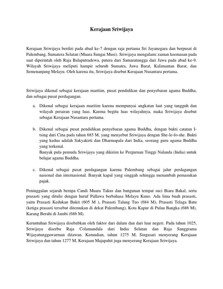 Soal Kerajaan-Kerajaan Maritim Nusantara (Hindu-Buddha & Islam)