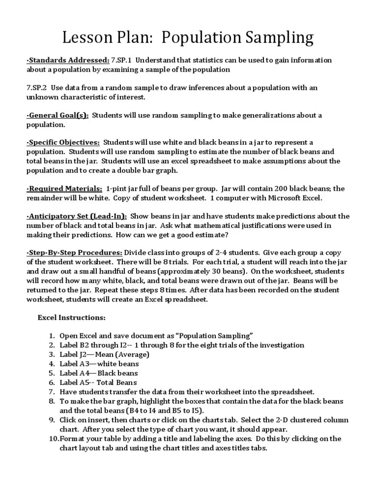hight resolution of Lesson Plan- Population Sampling   Sampling (Statistics)   Science \u0026  Mathematics