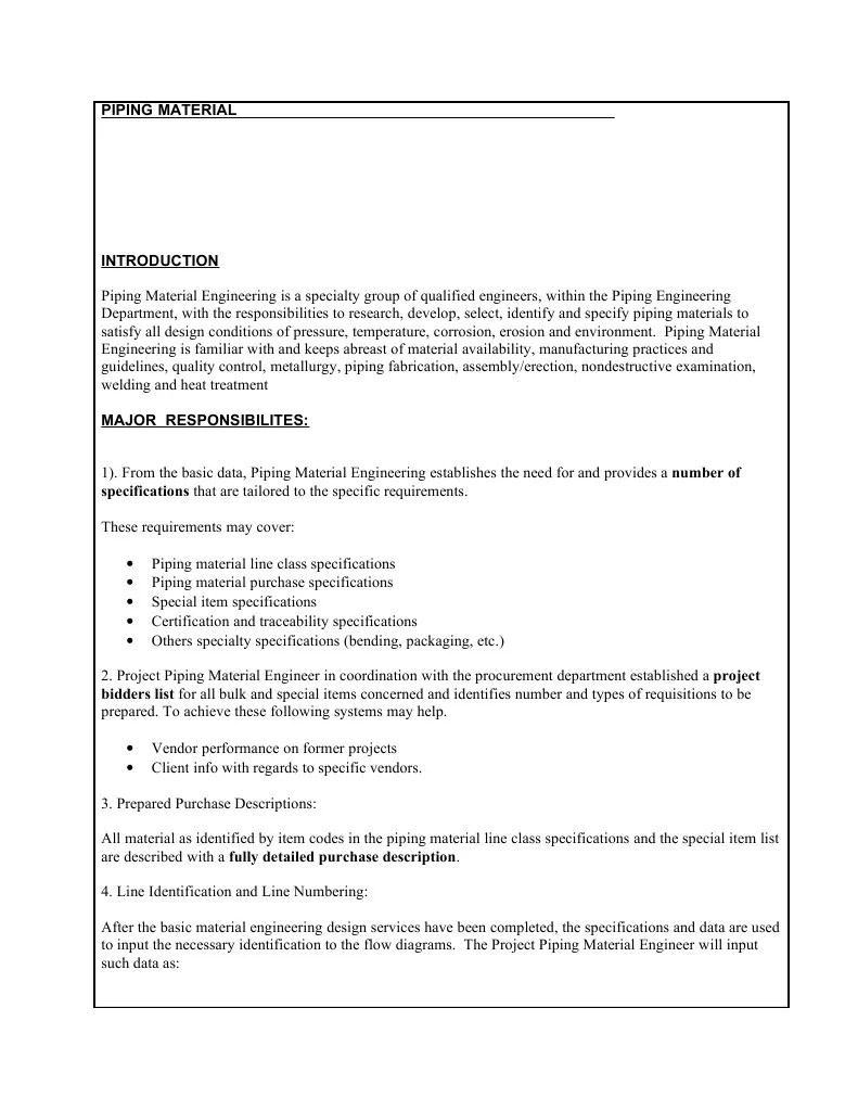 piping engineer resposibilities specification technical standard pipe fluid conveyance  [ 791 x 1023 Pixel ]
