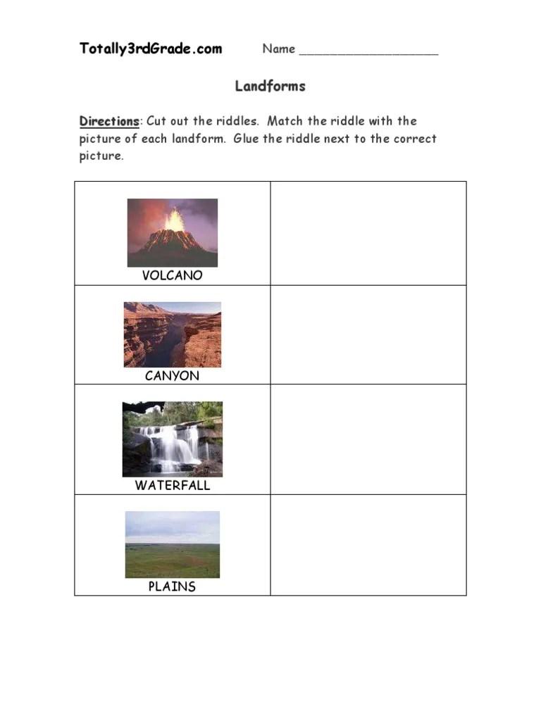 3rd Grade   Landforms Worksheet   Volcano   Mountains [ 1024 x 768 Pixel ]