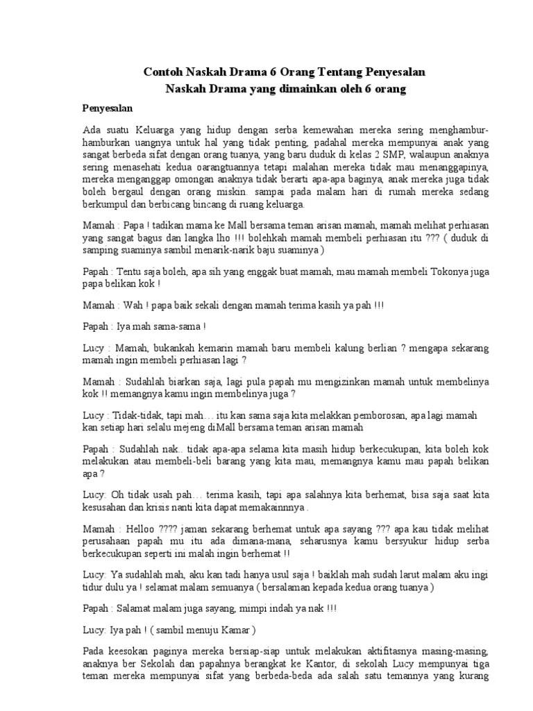 Naskah Drama 6 Orang Tentang Persahabatan Di Sekolah : naskah, drama, orang, tentang, persahabatan, sekolah, Contoh, Naskah, Drama, Orang, Tentang, Penyesalan