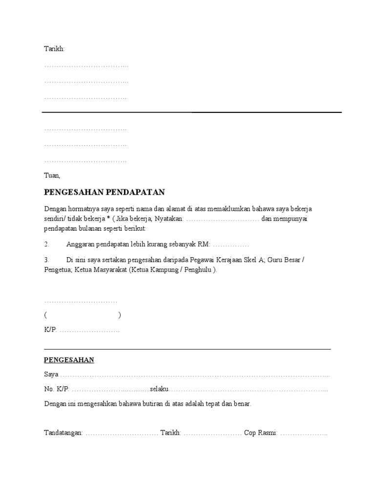 Contoh Surat Akuan Pendapatan Contoh Surat Pengesahan Cuitan Dokter