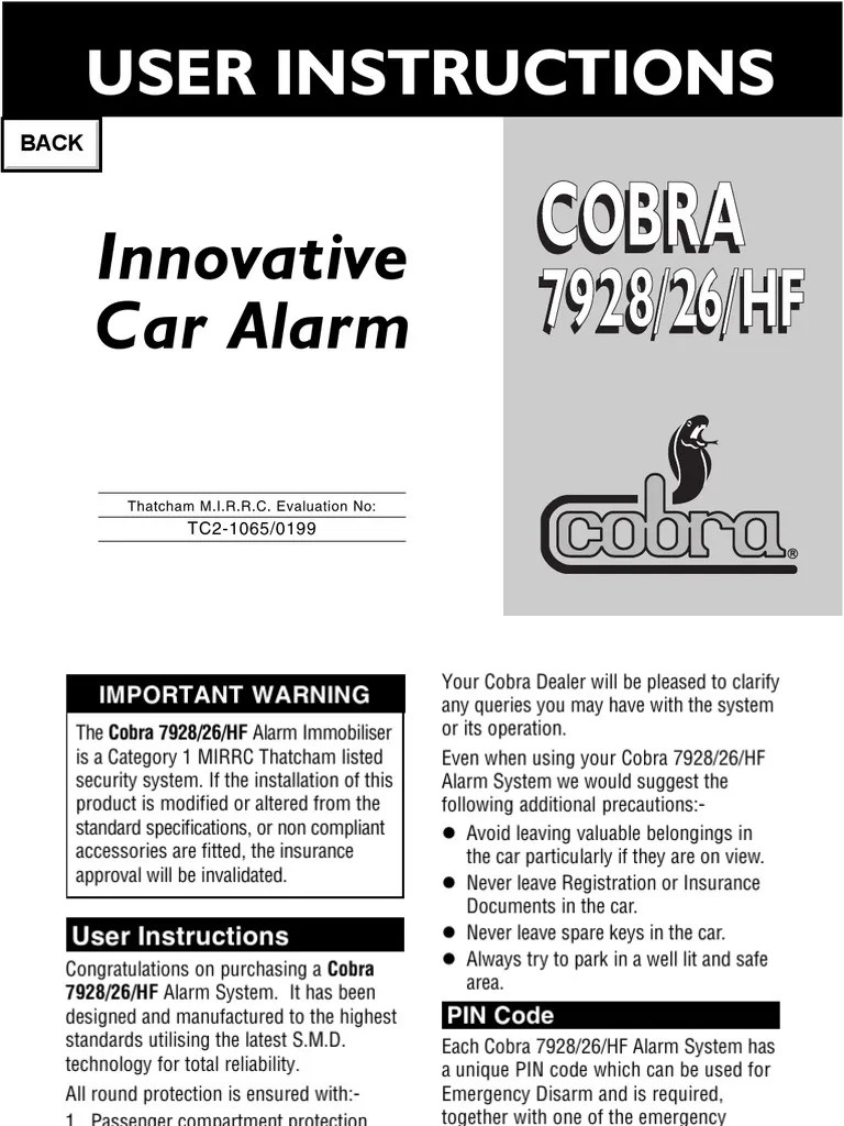 cobra 7928 handbook security alarm electrical engineering bmw radio wiring diagram pincode alarm wiring diagram 26 [ 768 x 1024 Pixel ]
