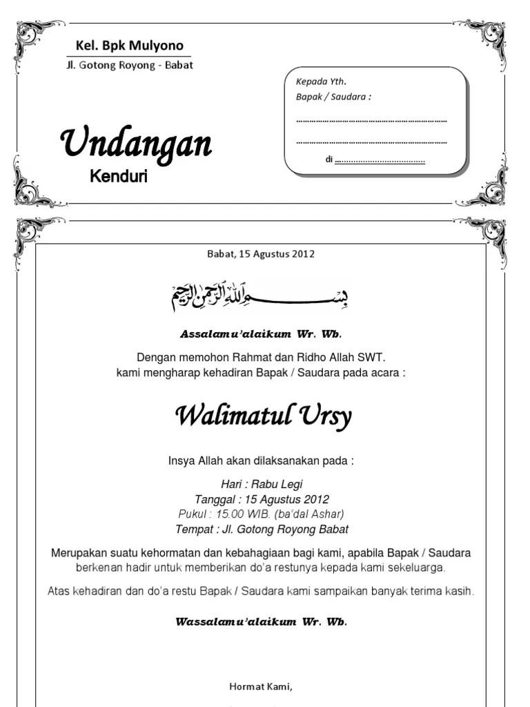 Cara Membuat Undangan Walimatul Ursy : membuat, undangan, walimatul, Contoh, Undangan, Walimatul, Simple
