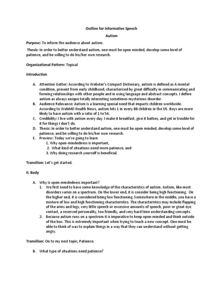 Outline For Informative Speech Autism Concept