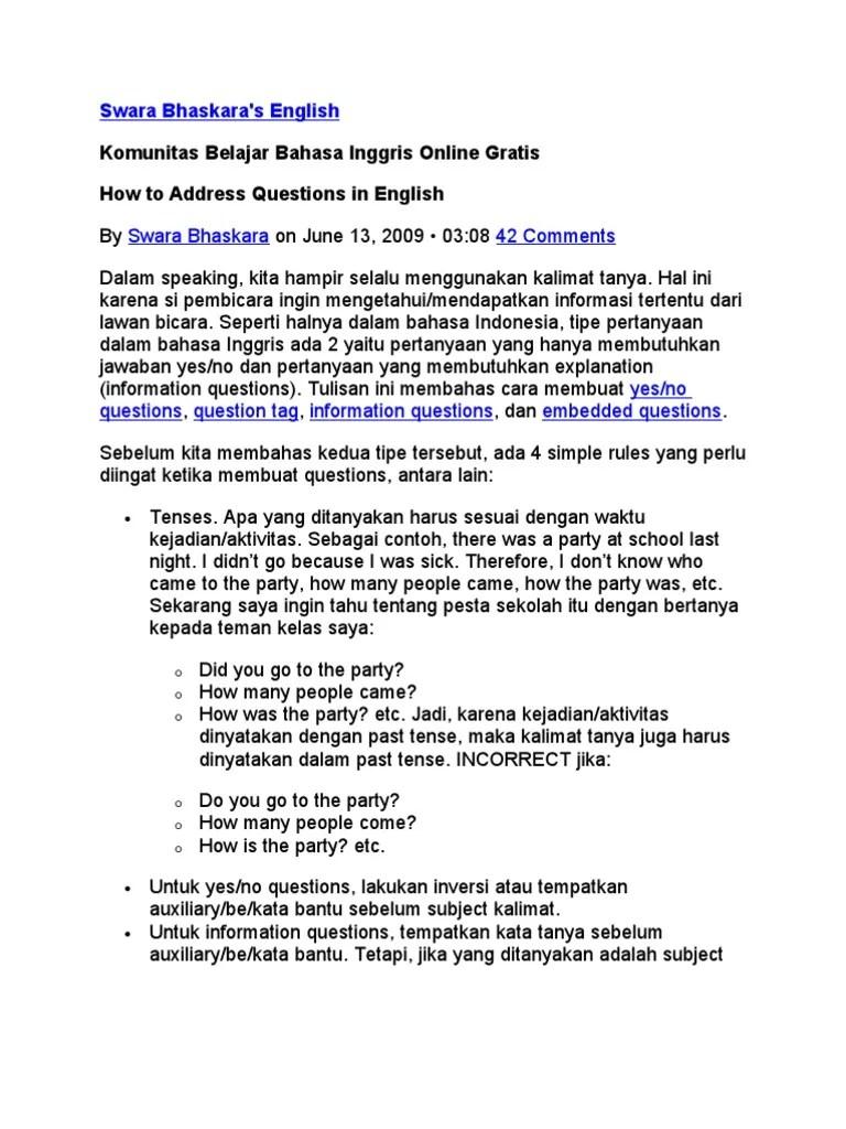 Pertanyaan Dalam Bahasa Inggris : pertanyaan, dalam, bahasa, inggris, Kalimat, Tanya, Dalam, Bahasa, Inggris