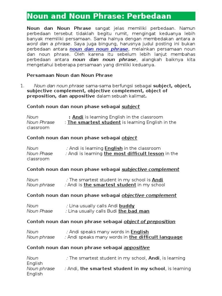 Phrase: Pengertian, Macam, dan Contoh Kalimat - Bahasa Inggris
