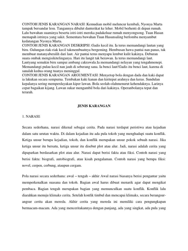 Contoh Teks Narasi : contoh, narasi, Contoh, Jenis, Karangan, Narasi