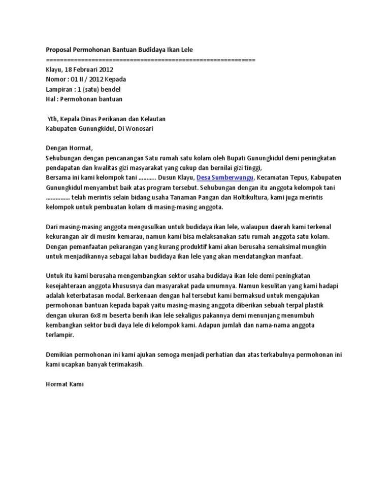 Contoh Proposal Ke Dinas Perikanan Cute766