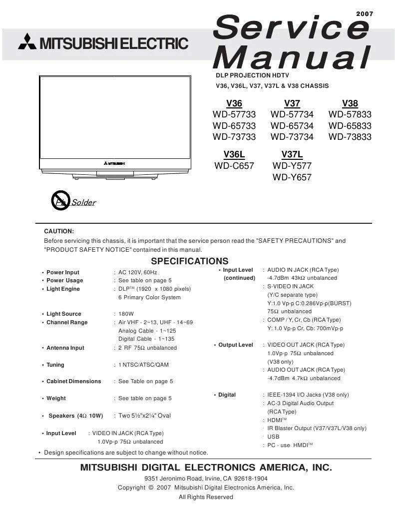 medium resolution of schematic mitsubishi dlp wiring library mitsubishi dlp projection tv mitsubishi service manual for dlp projection hdtv