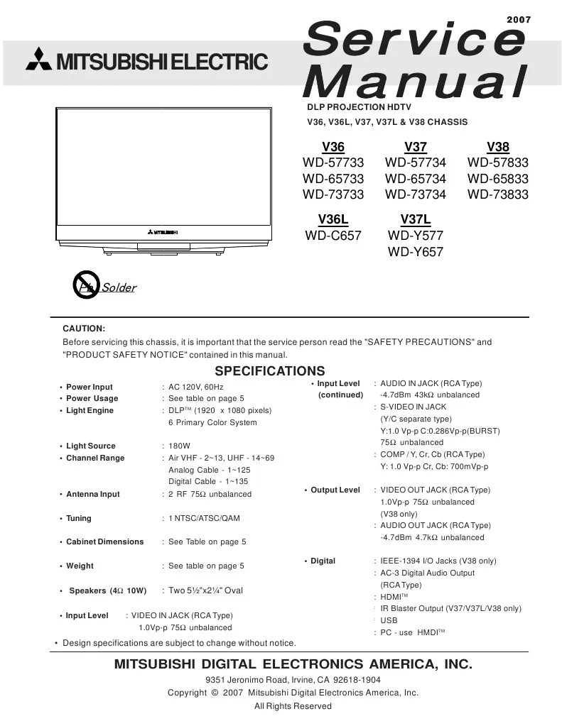 hight resolution of schematic mitsubishi dlp wiring library mitsubishi dlp projection tv mitsubishi service manual for dlp projection hdtv
