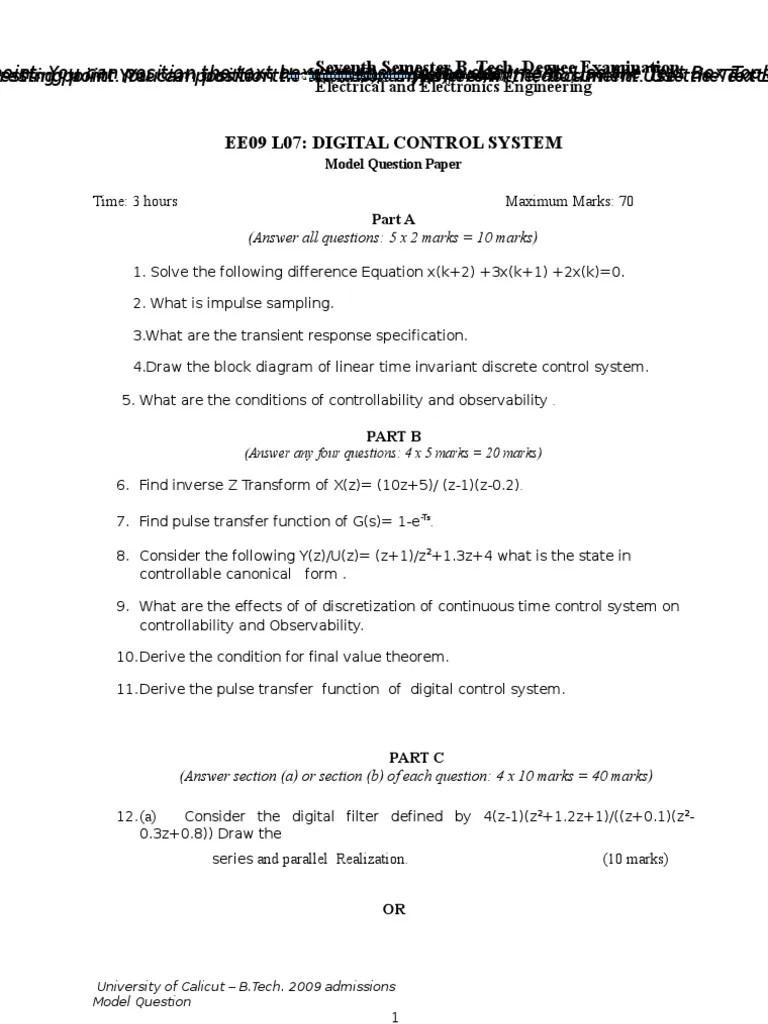 medium resolution of ee09 l07 digital control system model qp control theory signal processing
