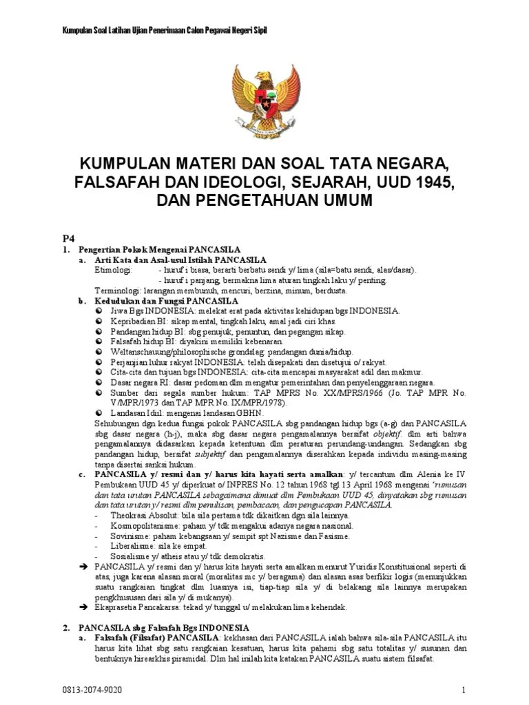 Kumpulan Contoh Soal Soal Cpns Twk Pancasila 2020 Dan Kunci Jawaban Cute766