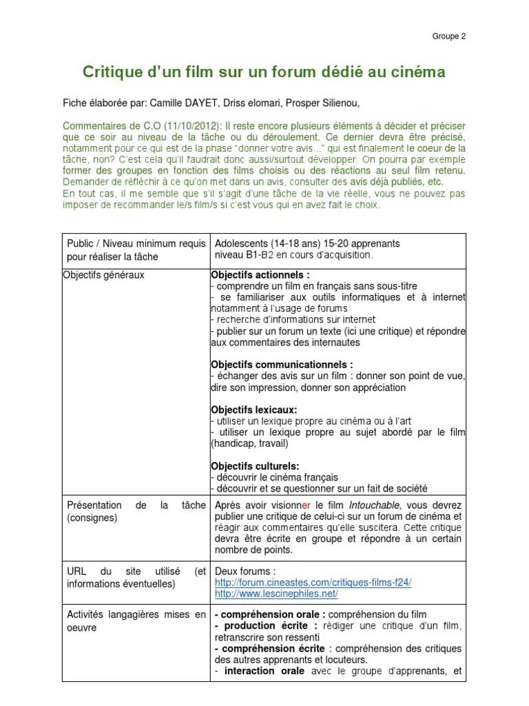 Rédiger Une Critique De Film : rédiger, critique, Groupe, 2.doc, Cinématographie, Réalisation, Films
