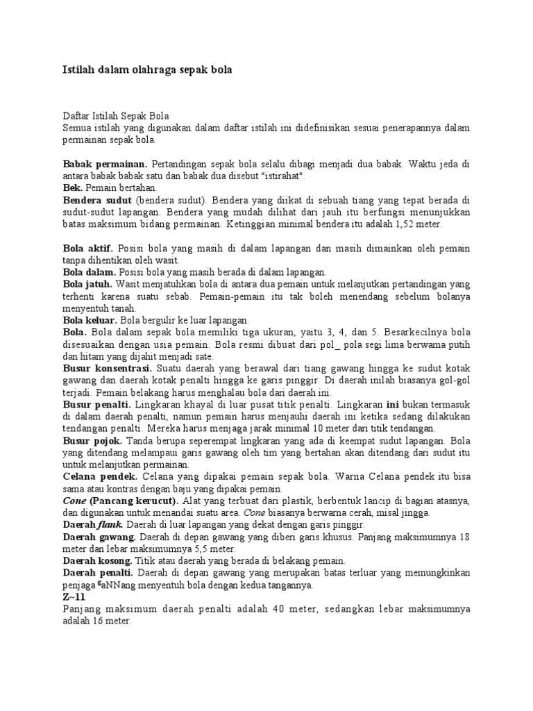 Daftar Istilah Sepakbola Dalam Bahasa Inggris Beserta Artinya