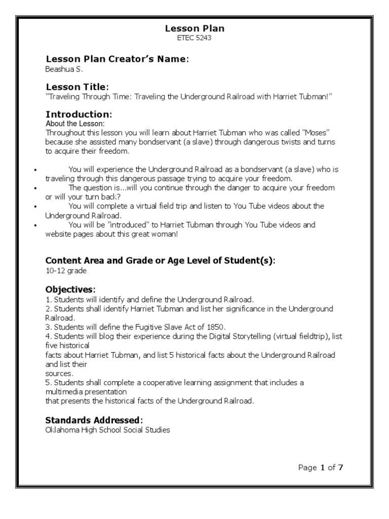 Harriet Tubman Lesson Plan   Homework   Lesson Plan [ 1024 x 768 Pixel ]