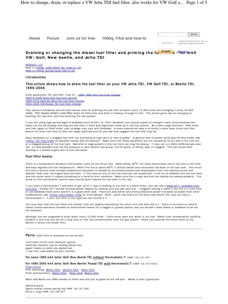 medium resolution of www myturbodiesel com 1000q a4 fuel filter change tdi en volkswagen fuel injection