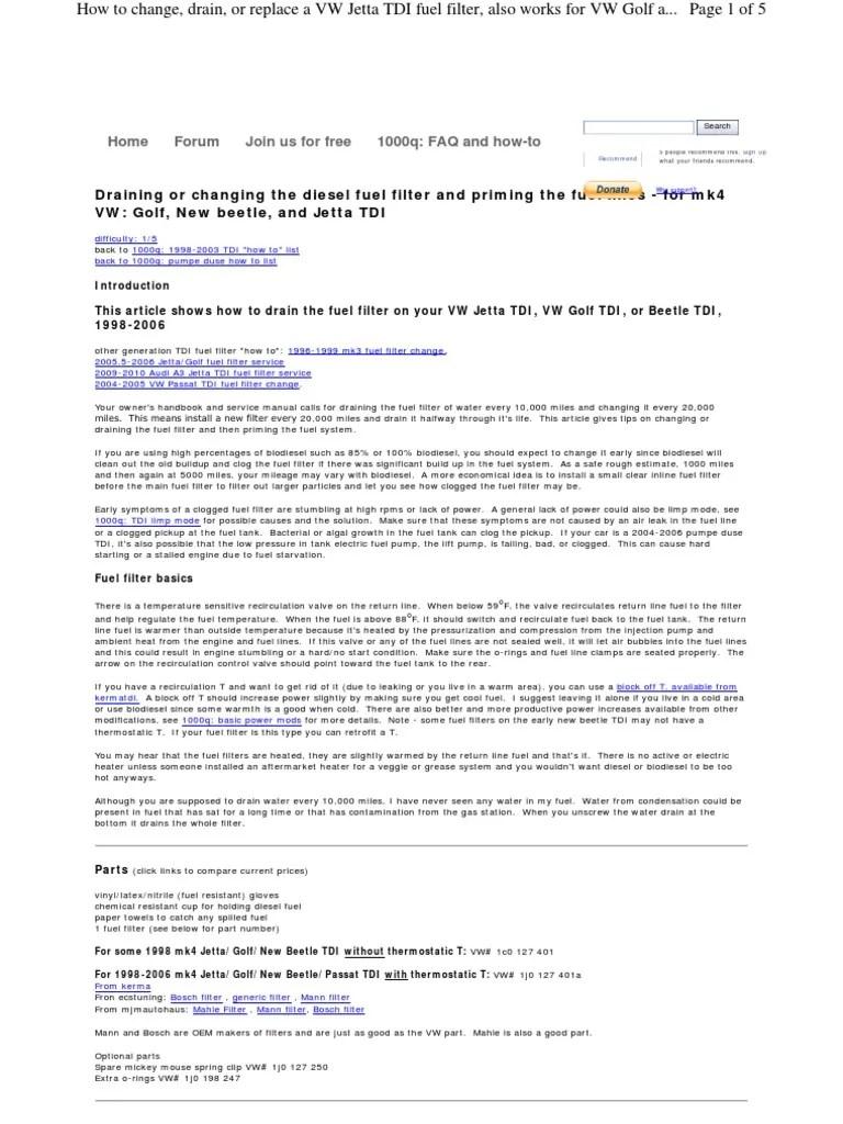 hight resolution of www myturbodiesel com 1000q a4 fuel filter change tdi en volkswagen fuel injection