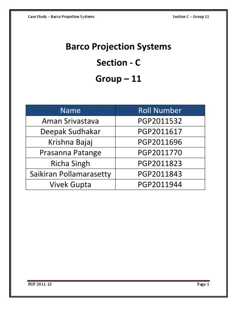 Barco Case Study Analysis