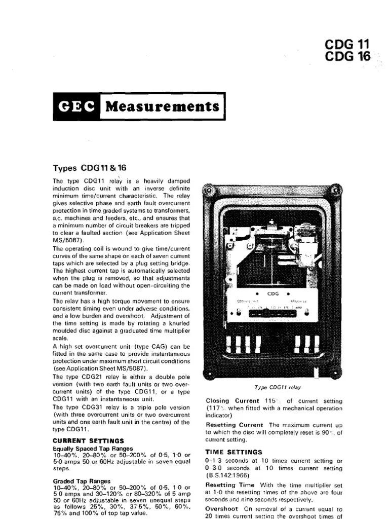 overcurrent relay cdg type