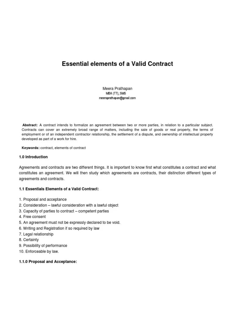 Valid Contract Essential Elements Photos >> Contractual Agreements ...