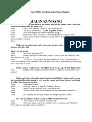 Teks Drama Malin Kundang : drama, malin, kundang, Naskah, Drama, Malin, Kundang, Dalam, Bahasa, Inggris
