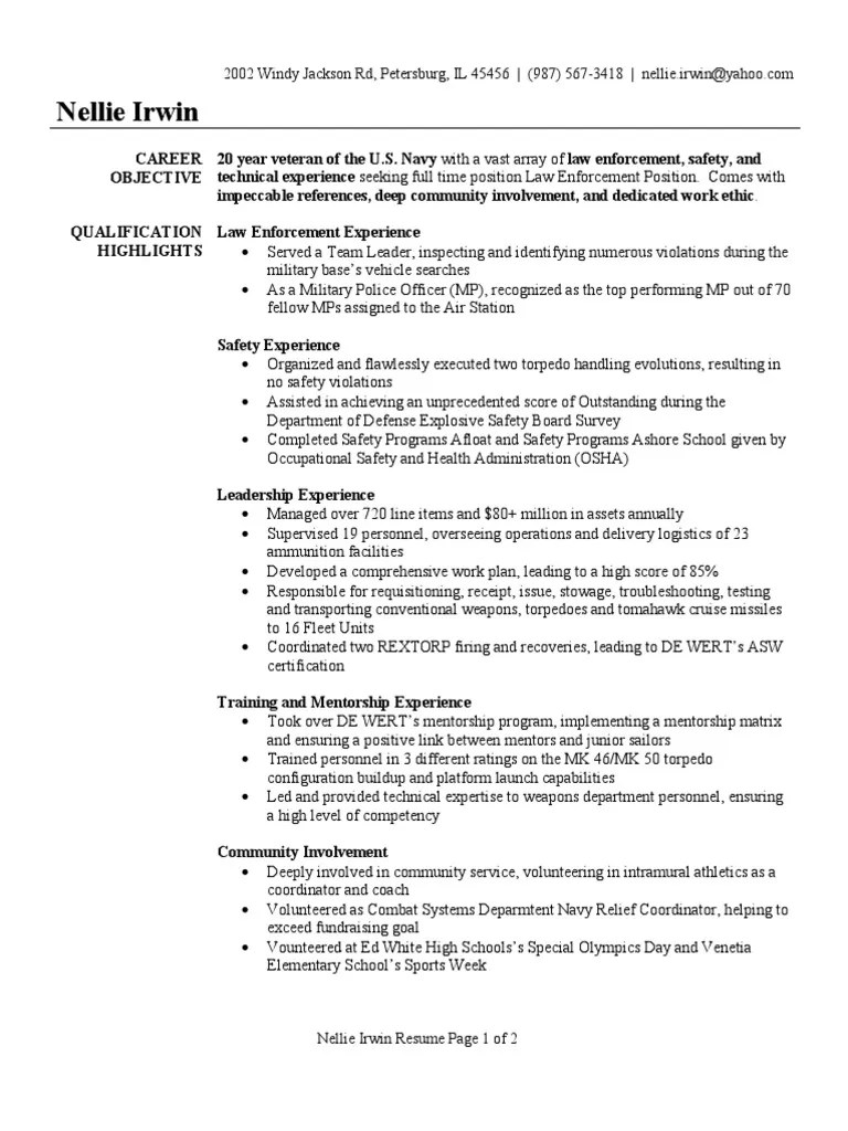 Military Police Officer Resume Sample Military Police