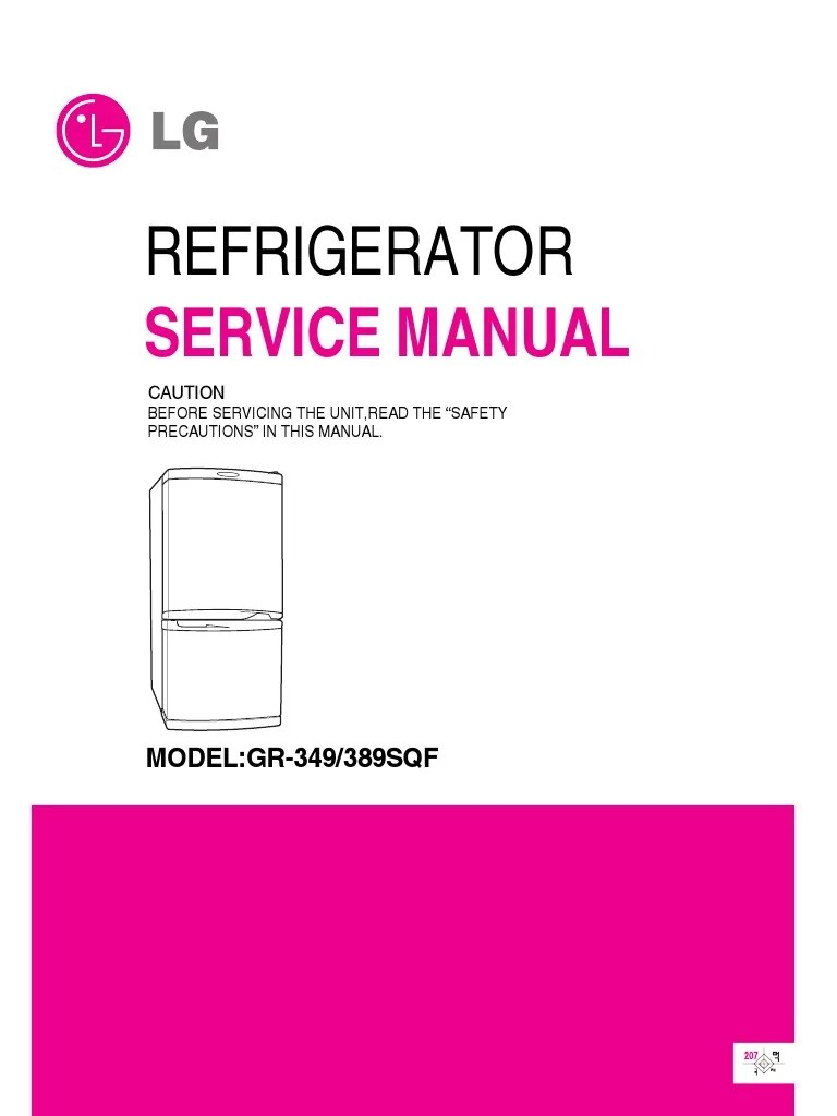 hight resolution of servicemanuals lg fridge gr349sqf gr 349sqf service manual refrigerator hvac