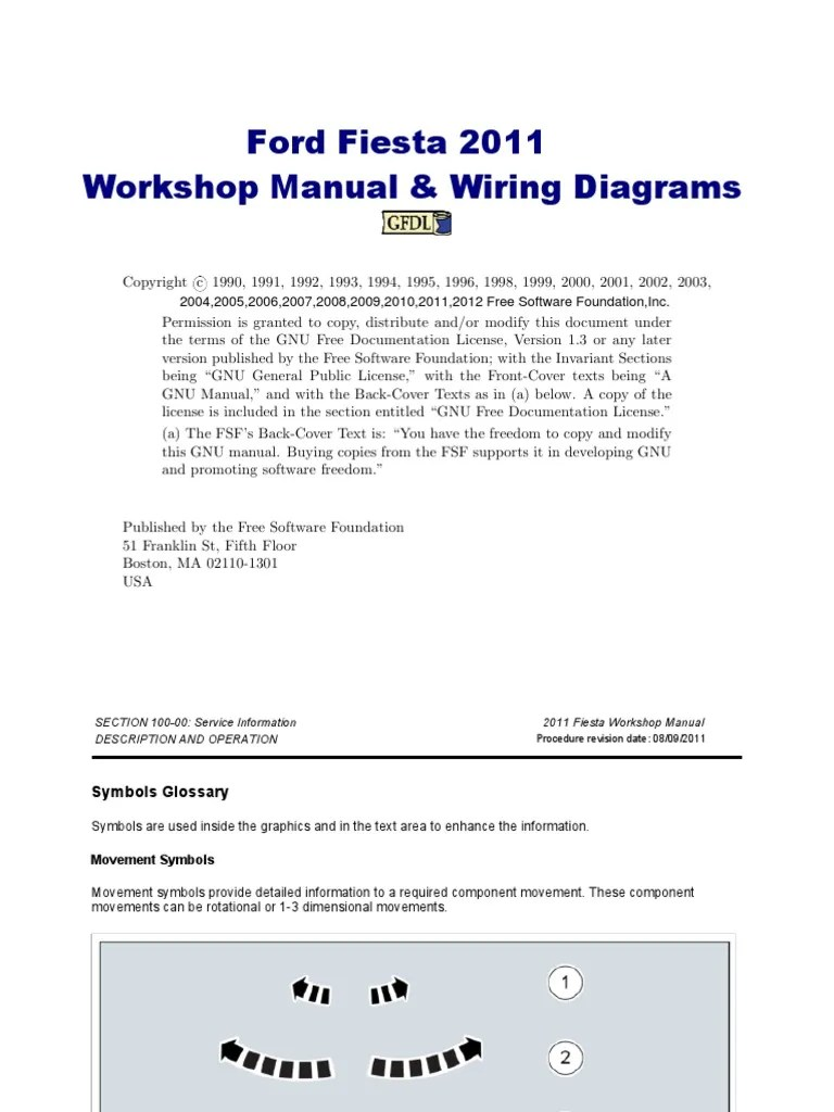 hight resolution of ford fiesta workshop manual 2011 automatic generator start wiring diagrams 2011 ford fiesta wiring diagram