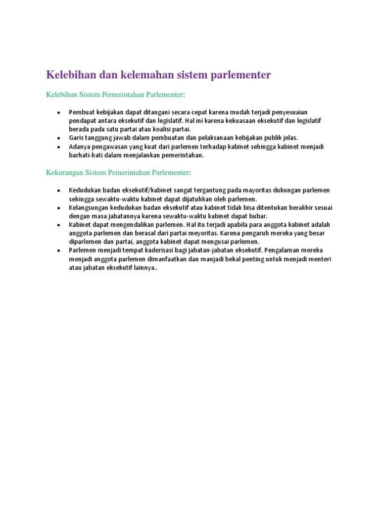 Sistem Pemerintahan Parlementer : Ciri, Kelebihan dan