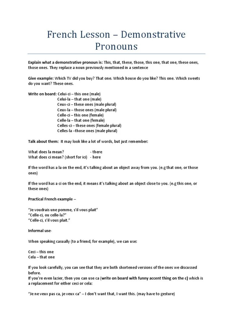 small resolution of Demonstrative Pronouns Lesson Plan   Plural   Pronoun