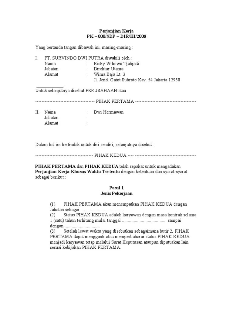 Surat Perjanjian Kerja Doc : surat, perjanjian, kerja, DRAFT, Perjanjian, Kerja