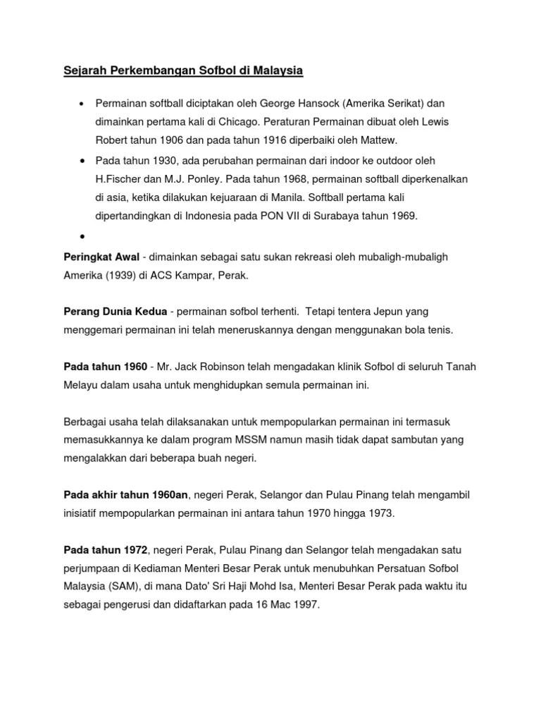 Sejarah Softball Di Indonesia : sejarah, softball, indonesia, Sejarah, Perkembangan, Sofbol, Malaysia