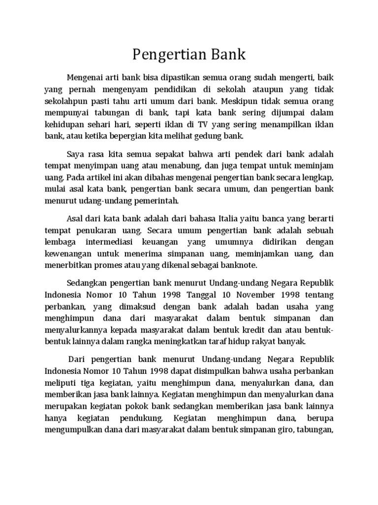 Pengertian Bank Menurut Uu No 10 Tahun 1998 : pengertian, menurut, tahun, Pengertian